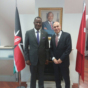 The incoming Turkish Ambassador to Kenya Ahmet Cemil Miroglu, today paid a courtesy call on H.E Kiema Kilonzo, Kenya's Ambassador to Turkey at the Kenya Chancery.
