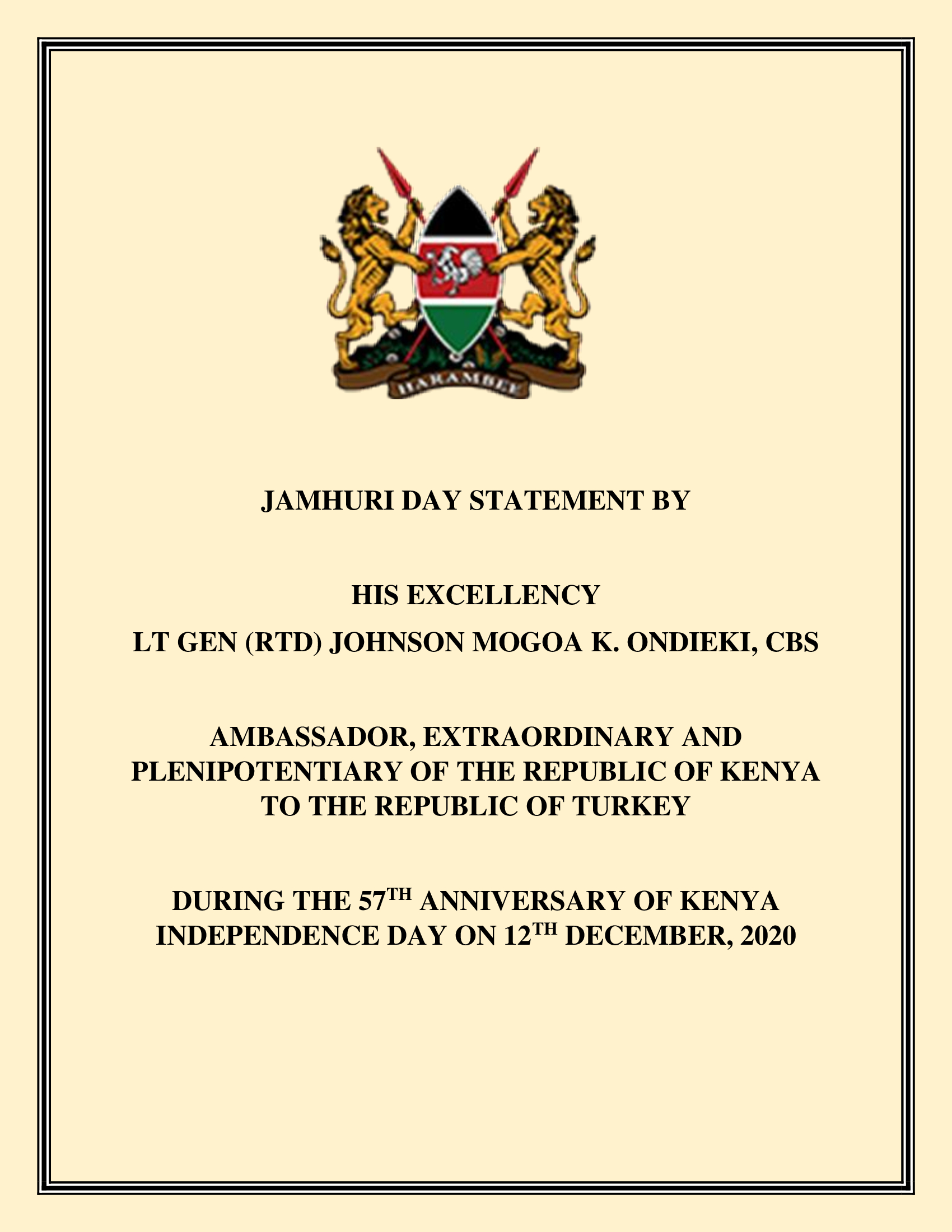 Jamhuri Day Statement by H.E. the Ambassador of the Republic of Kenya